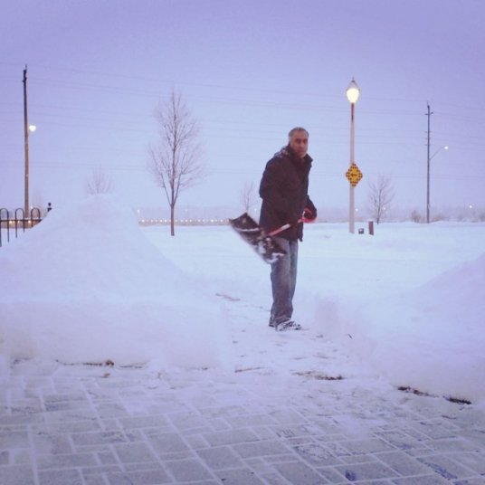 Shovelling snow in Canada