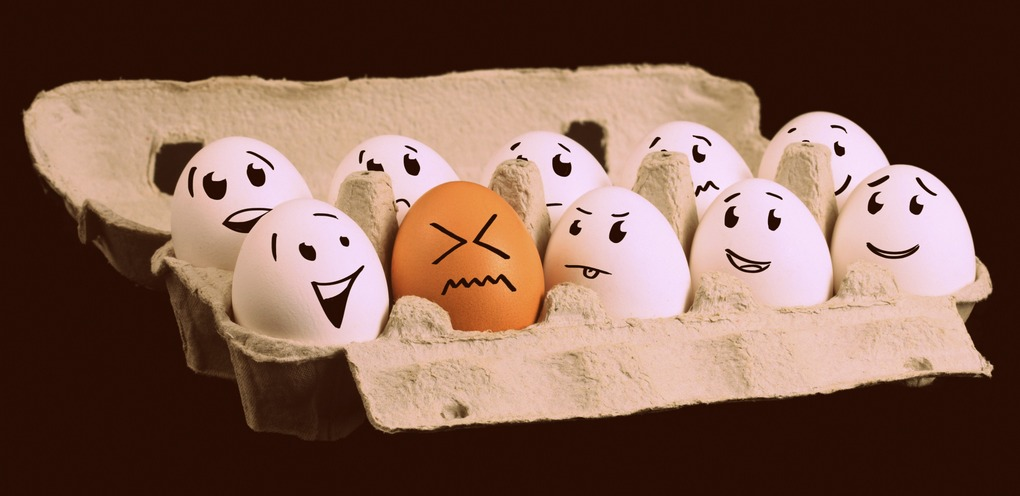 Eggs in an eggbox with faces drawn on them, the majority looking at one different coloured egg among them.