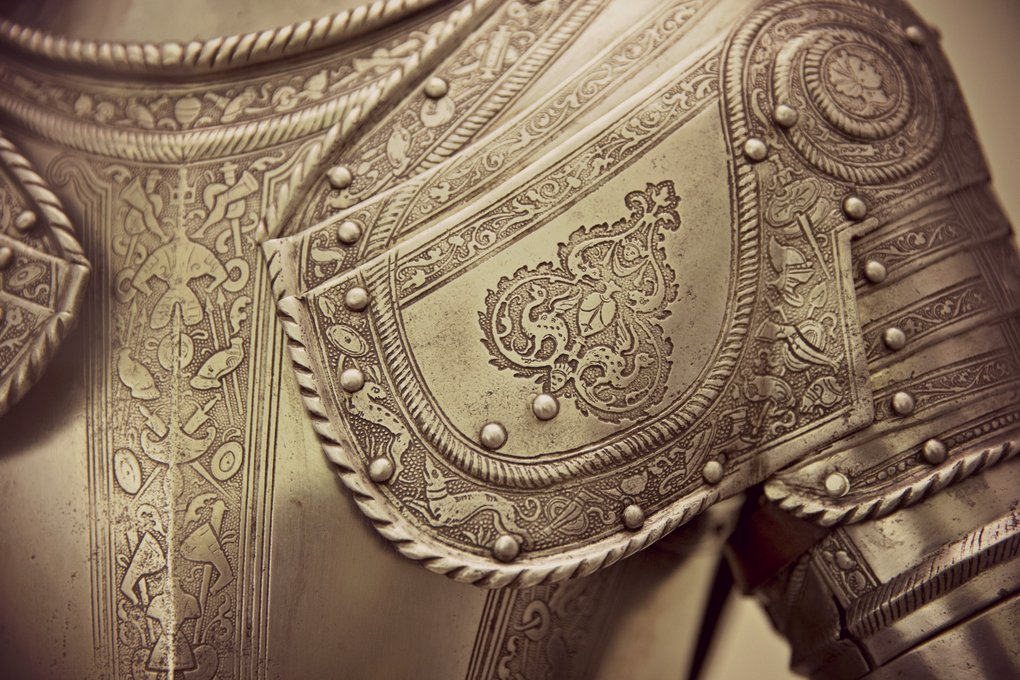 Close-up of the left shoulder of a medieval breastplate