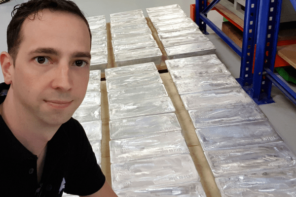 Mikkel Thorup with 30kg bars of pure silver