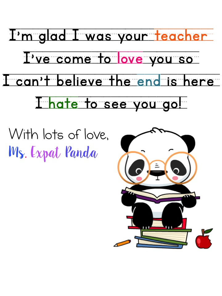 A letter to my kindergarten students – Expat Panda