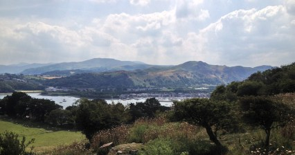 A view from Deganwy Castle toward Conwy Mountain
