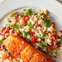 Moroccan salmon with cherry tomatoes and couscous