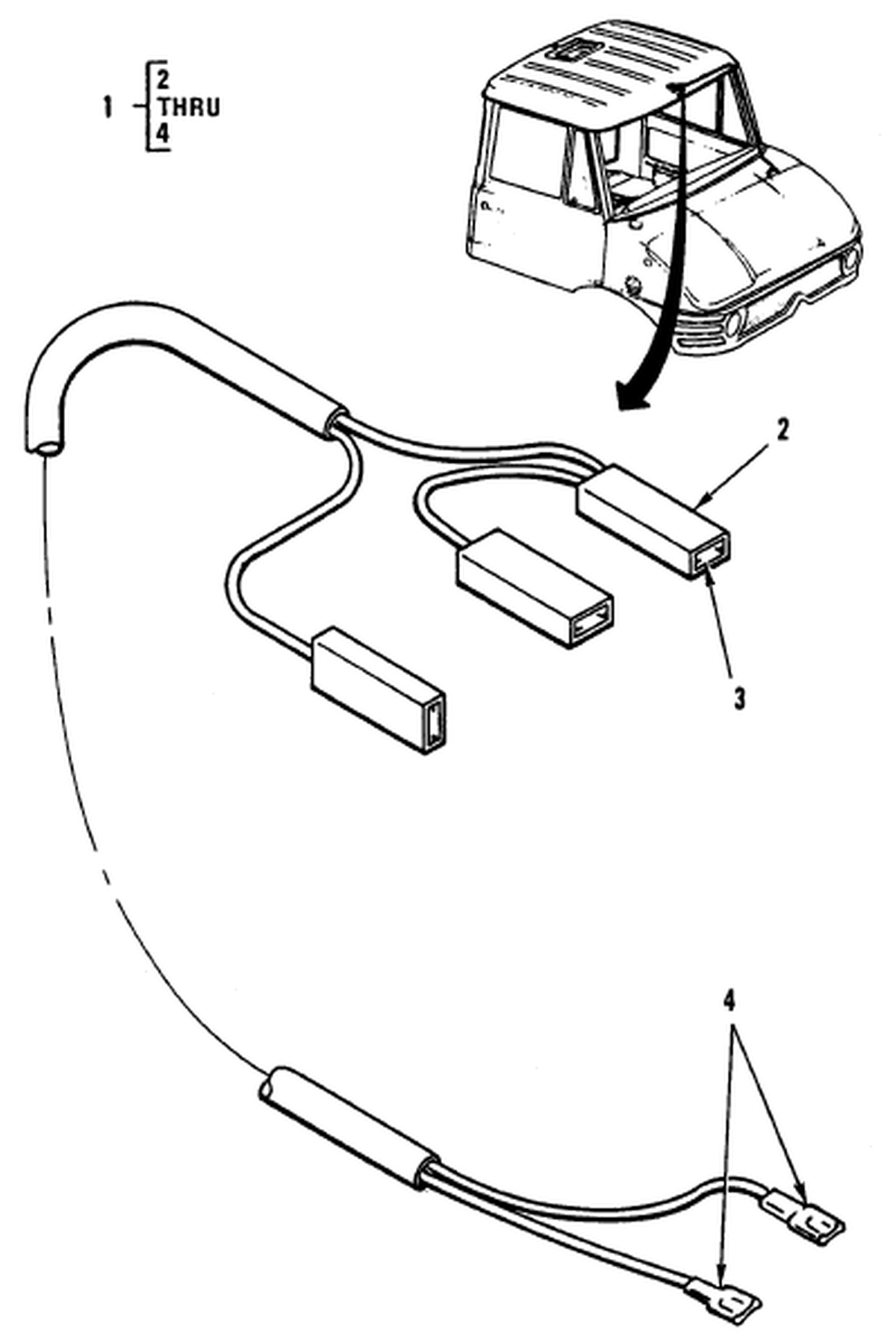 00 2 Figure 89 Hull Or Chassis Wiring Harness Dome Light Cable Assembly