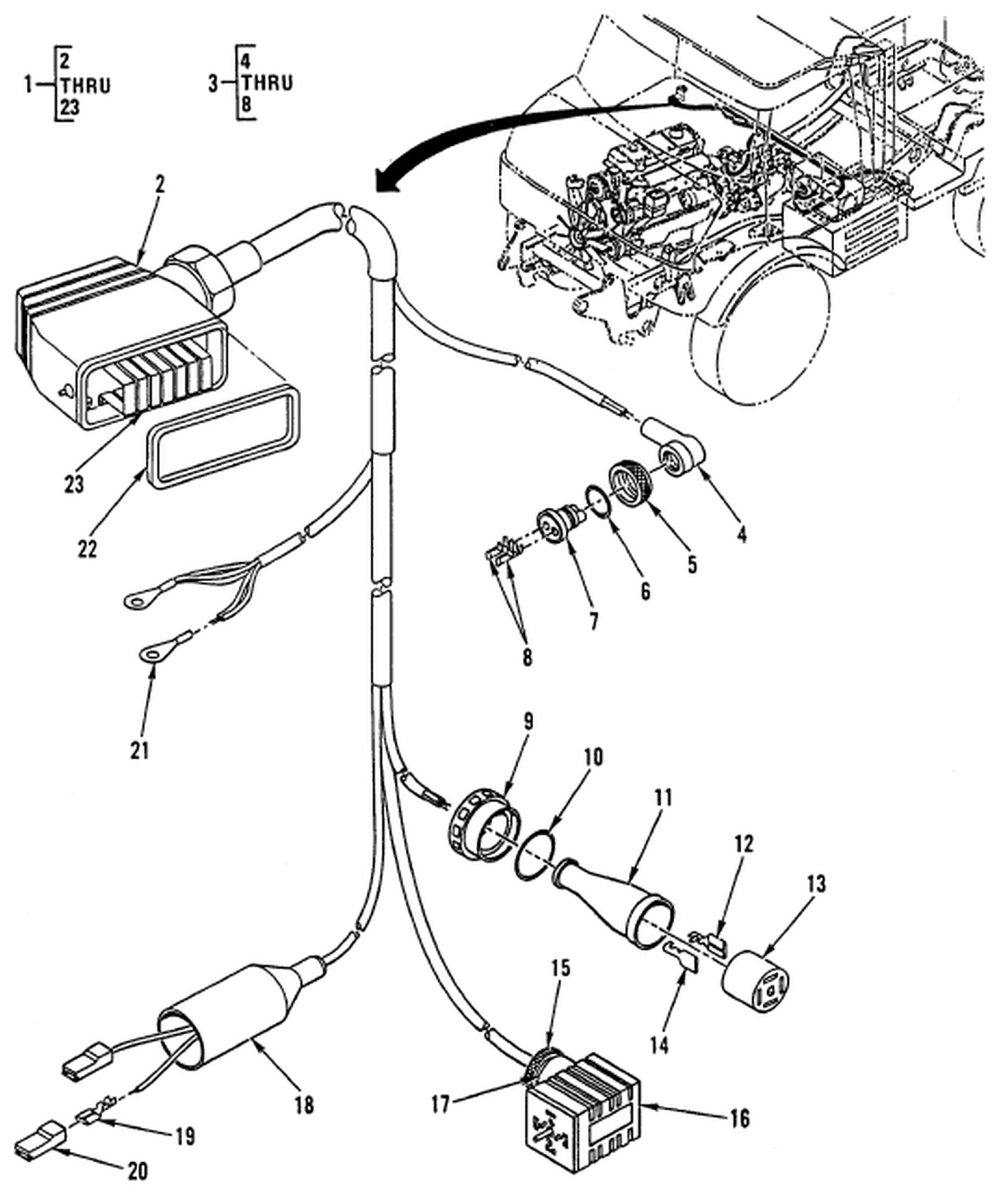 Hull or chassis wiring harness cab floor separation point to hydraulic suspension lockout wiring harness hull or chassis wiring harness cab floor