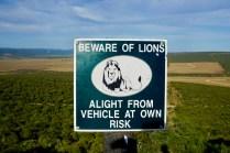 Warnhinweis zu Löwen im Addo Elephant National Park