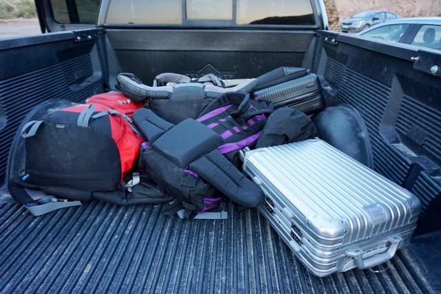 Gepäck auf der Ladefläche