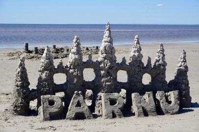 Sandburg am Strand