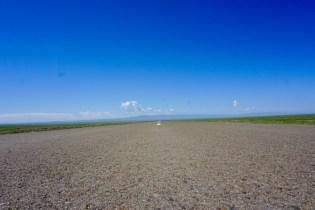 Landstraße durch Gobi-Wüste