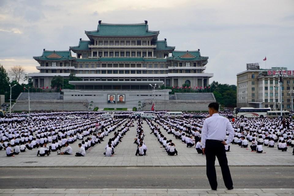 Proben für eine Parade in Nordkorea