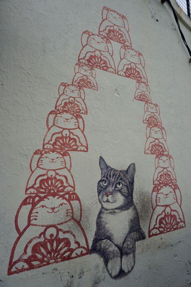 Katzen-Streetart in Penang