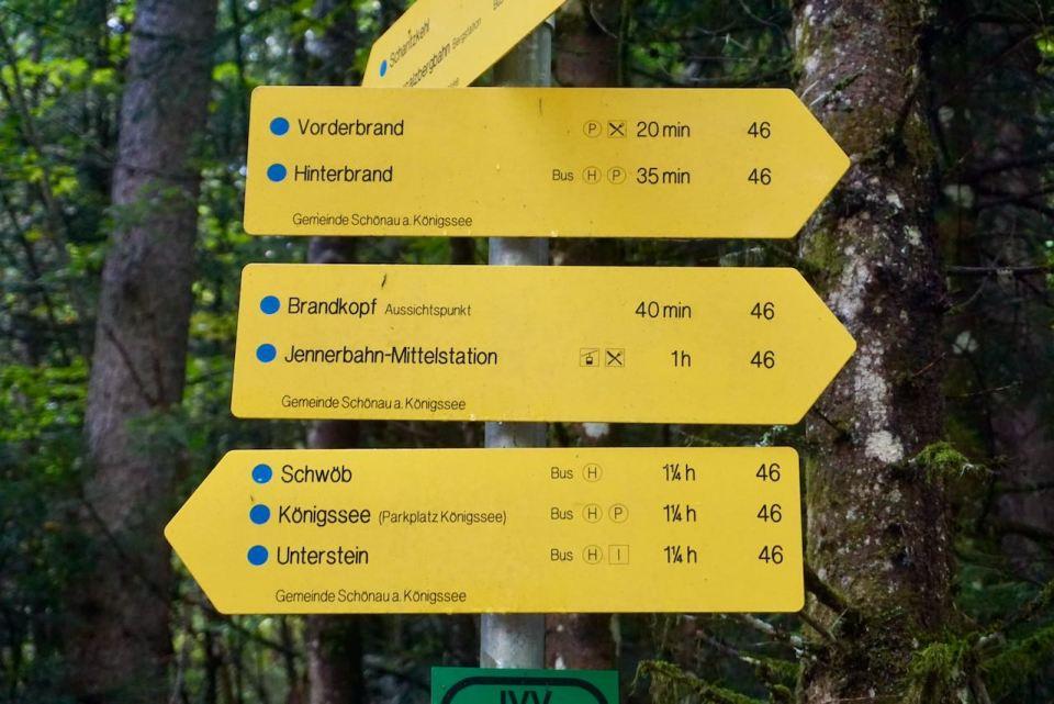 Gelbe Wegweiser zeigen den Weg im gesamten Nationalpark