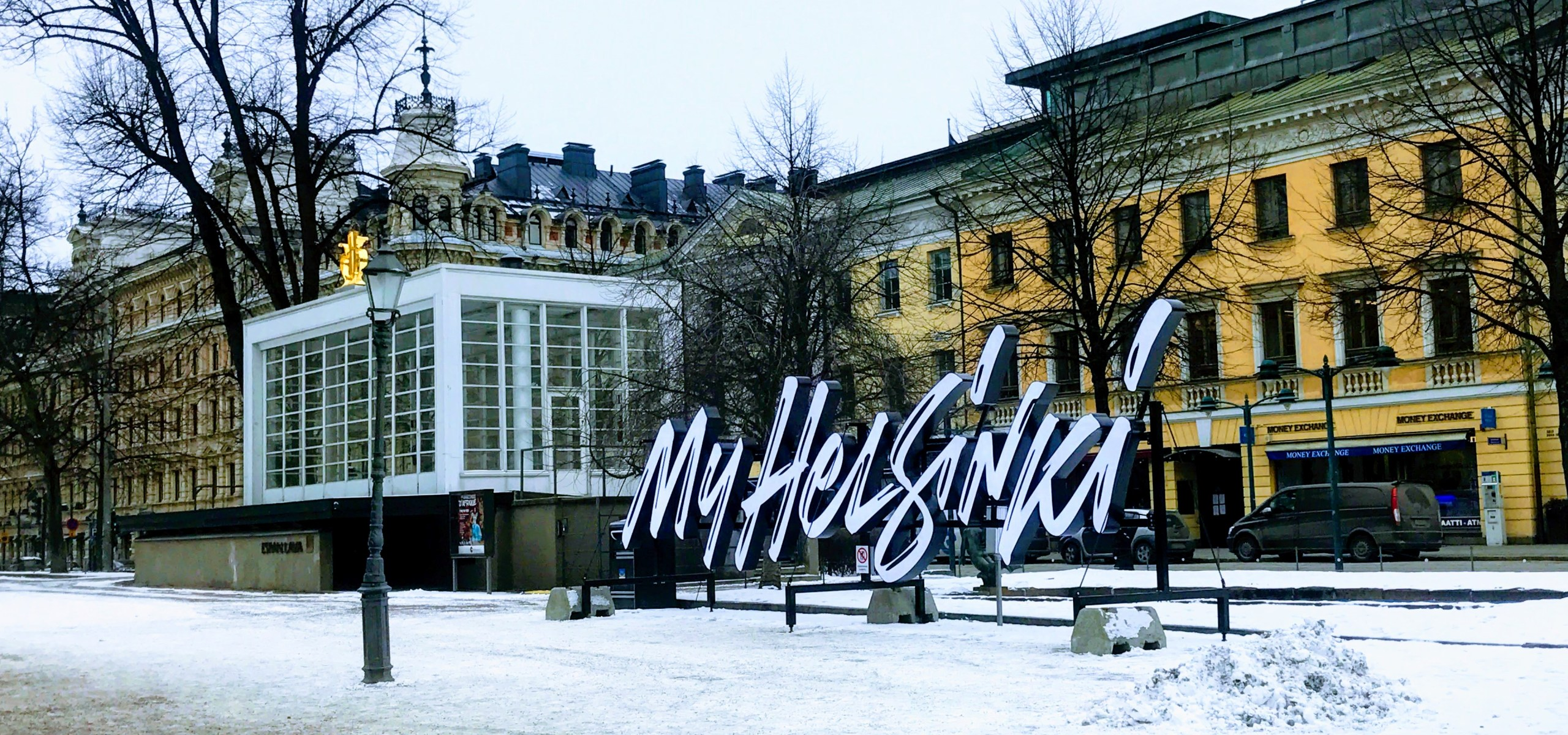 MY HELSINKI SIGN WITH A SNOW DUSTING IN FINLANN