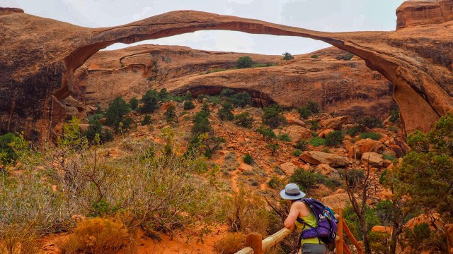 looking towards landscape arch in arches national  park