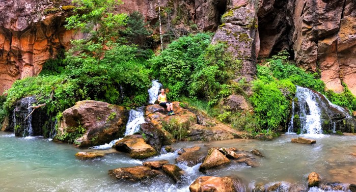 The lush greenery and waterfalls of Big Springs, The Narrows, Zion National Park