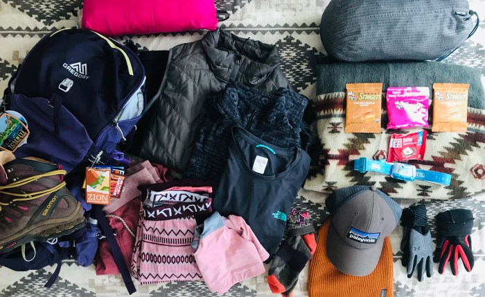 LAYERS TO BE WORN AND PACKED FOR SHOULDER SEASON HIKING