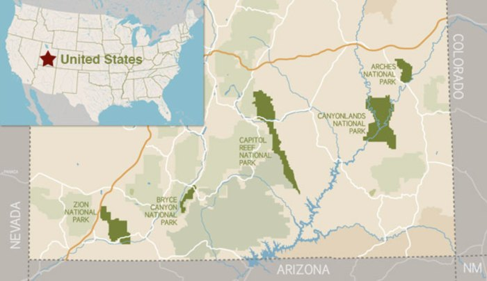 Utah National Parks Location