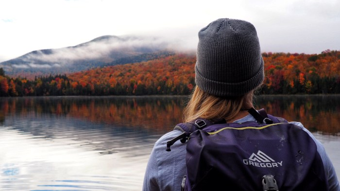 Girl looking off into fall foliage colored trees and mountains