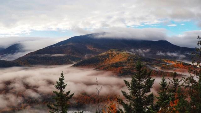 fog rolls through afall foliage view of the macIntyre Range