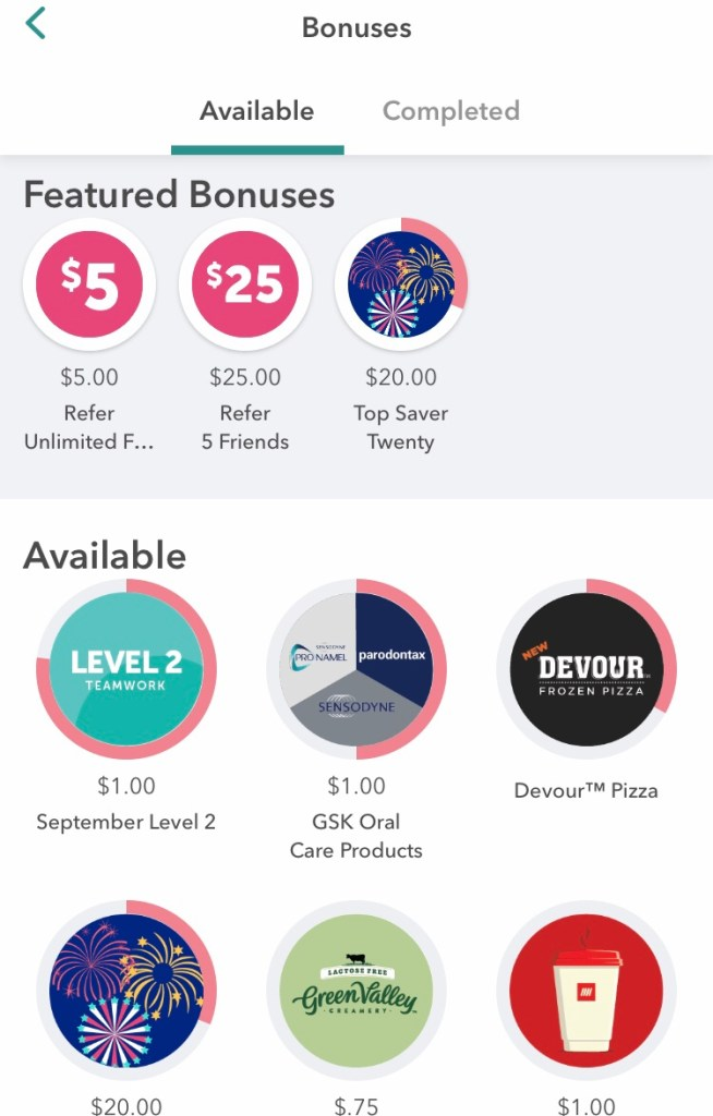 picture of bonus options on the ibotta app