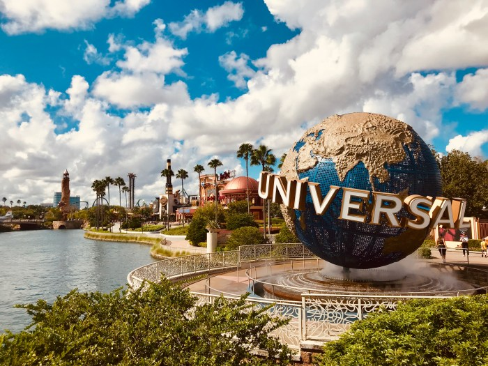 a photo of the universal globe on a cloudy summer day