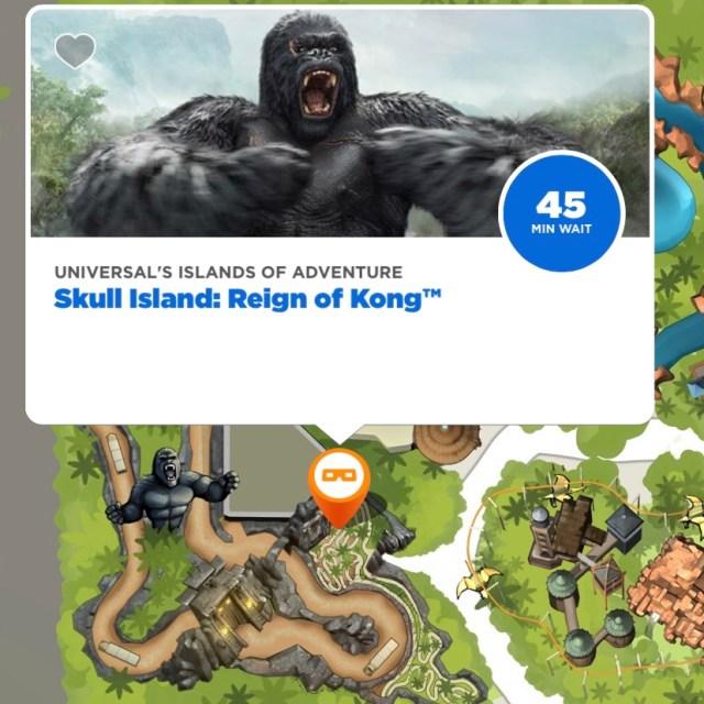 Screenshot from Universal Florida App