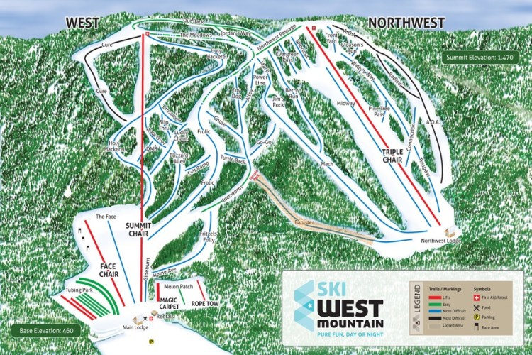 West Mountain Adirondack Trail Map