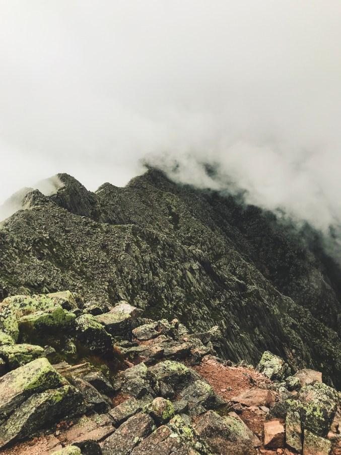 a foggy view of knife edge hiking mount katahdin