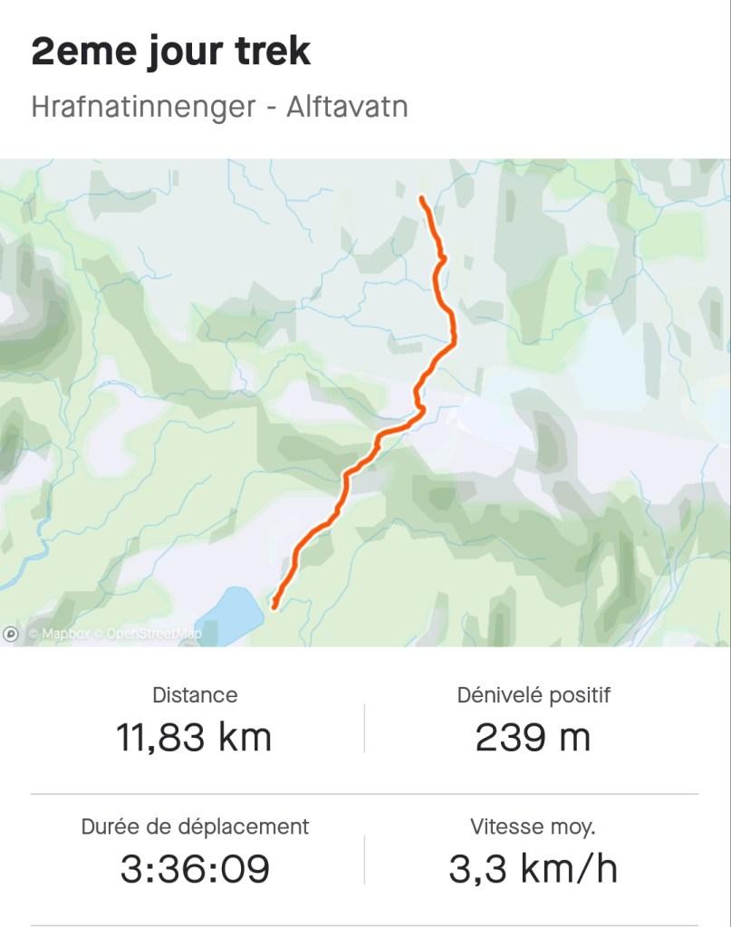 Maps du 2ème jour du trek du Laugavegur