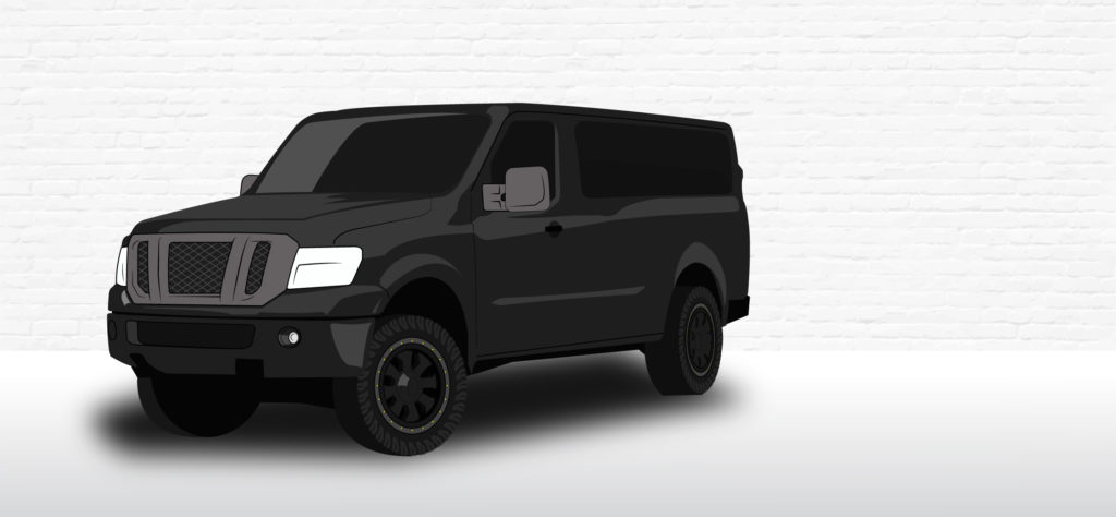 Nissan NV illustration with 4x4 conversion and a small suspension lift