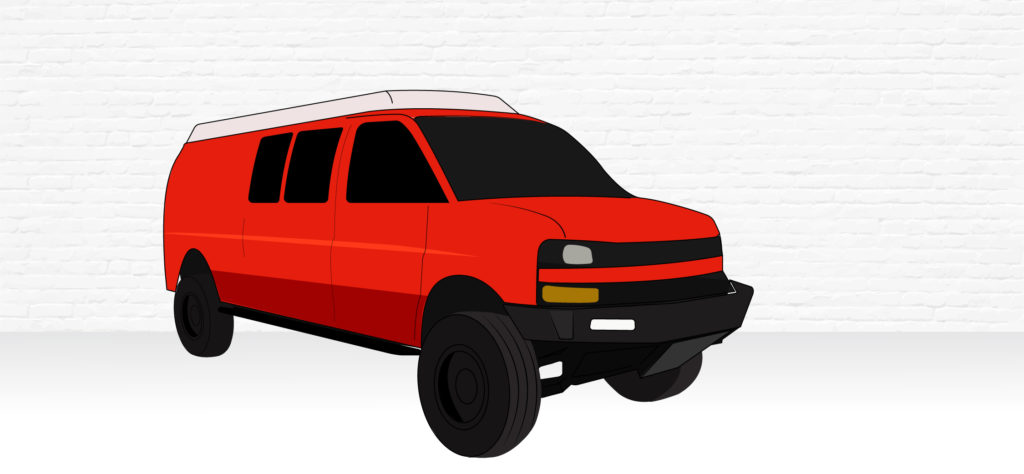 GM 4x4 Van illustration, lifted and features a pop top conversion like those offered by sortsmobile