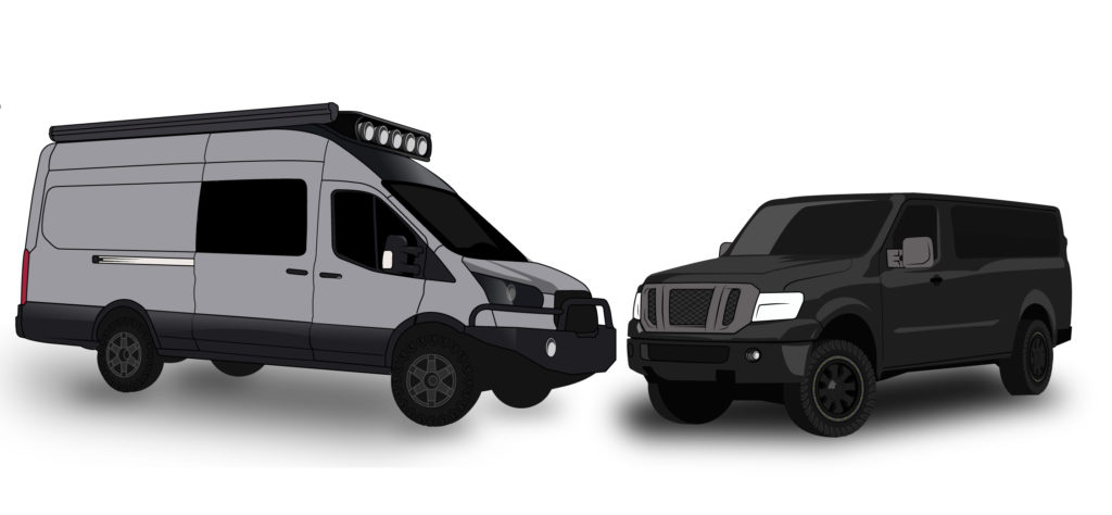 4x4 Transit and 4 wheel drive converted Nissan NV illustration