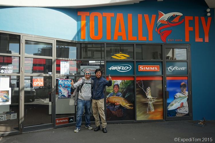 Yoshi and me in front of the Totally Fly store