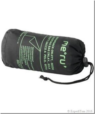Packed Meru inlay sleeping bag measuring 15 x 6 cm.