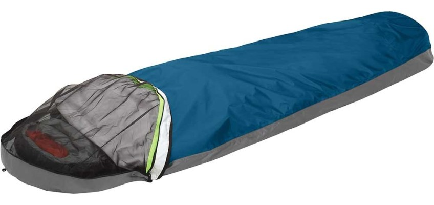 Outdoor Research Aurora bivouac sac with insect shield closed.