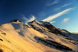 Sunset on the Stelvio Pass 2700 metres above sea level