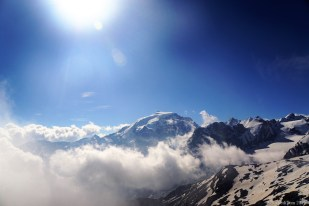 View on the Ortler massive, there was a gun on the glacier.