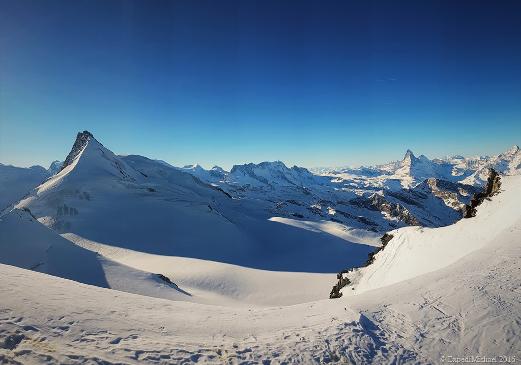 Pure Swiss Alps - snowshoeing to the Allalinhorn mountain in Saas Fee Switzerland