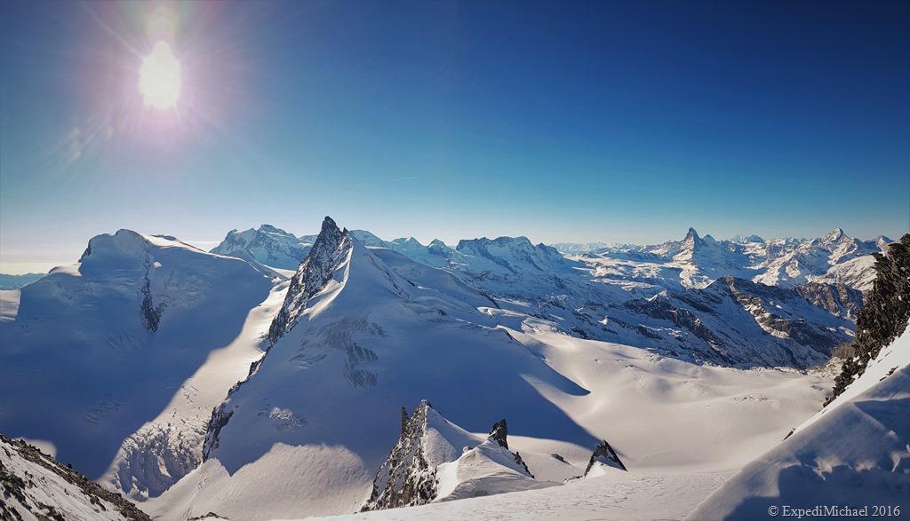 Panorama snowshoeing to the Allalinhorn mountain in Saas Fee Switzerland