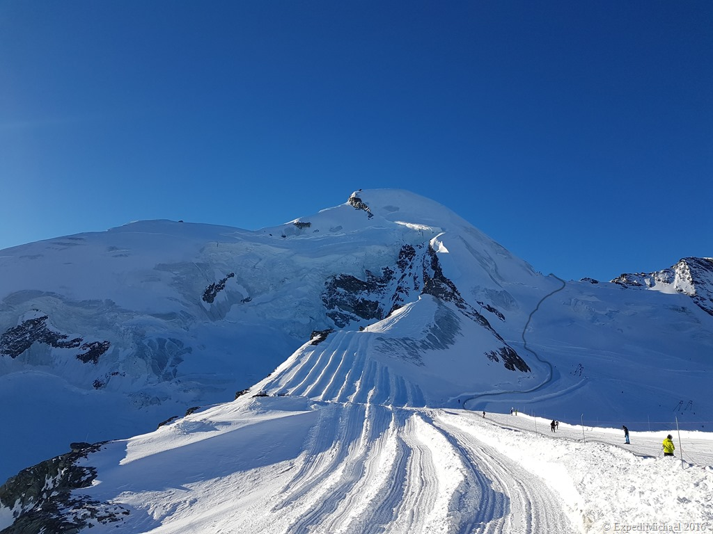 Start of the snowshoeing to the Allalinhorn mountain in Saas Fee Switzerland
