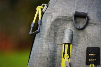 The zippers of the Orvis waterproof sling pack
