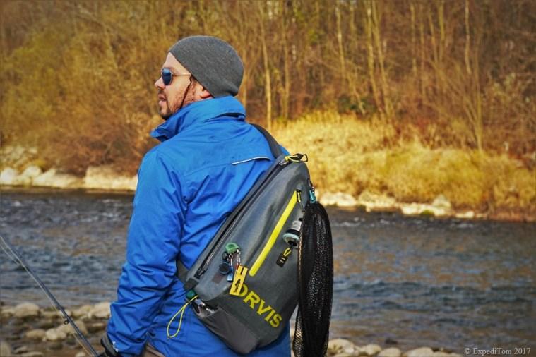 Fully equipped Orvis waterproof sling pack