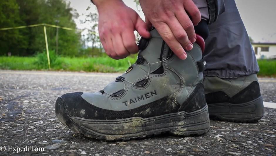 The Taimen Khatanga Wading Boots with the fast Atop lacing system