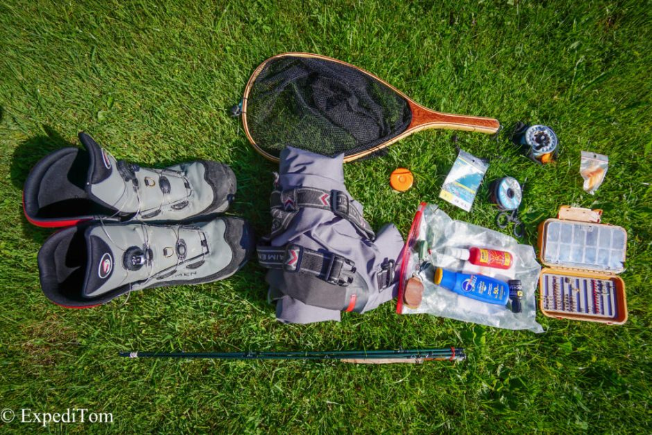 Equipment used during the overnight fly fishing trip in the Swiss Alps