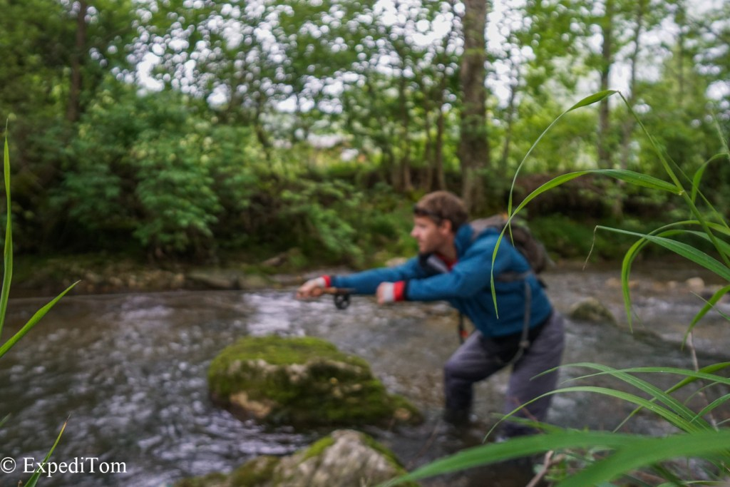 Fly fishing in Switzerland for brown trout in small streams