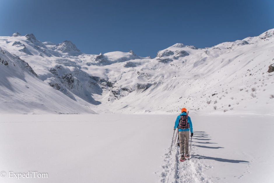 Snowshoeing to the ice caves in Switzerland