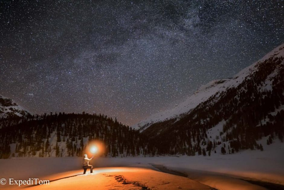 Night photography in the Swiss Alps searching for some Easter eggs