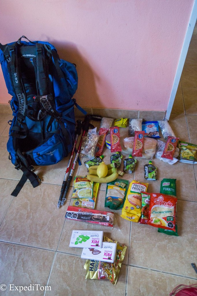 Hiking food for the Huemul trek (4 days, 2 dudes) all lined up.