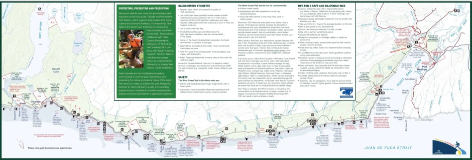 West Coast Trail map by Parks Canada: Nitinaht - Gordon River