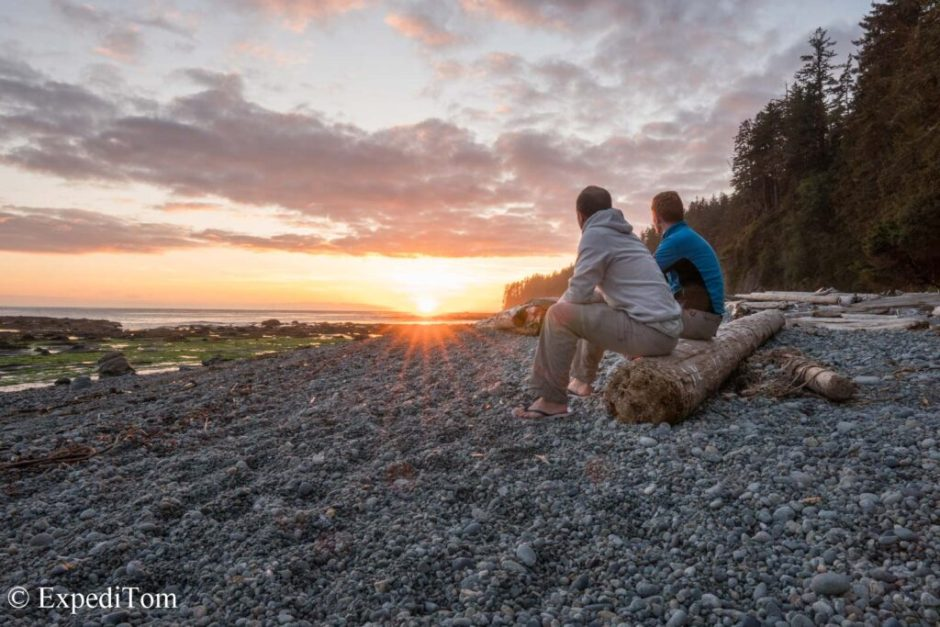 Spectacular sunset along the West Coast Trail - right next to the seal carcass